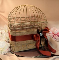 Rustic Earthy Burlap Wedding Card Box Bird Cage...Painted in ANY Color to Match Your Colors..Shown in champagne/rust orange/chocolate brown on Etsy, $75.00
