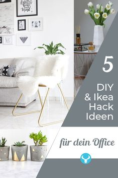 So you bring scandi style into your office or home office - we show you 5 quick diy and ikea hack ideas to try at home. Ikea Hacks, Home Office, Kallax, Swedish Design, Scandi Style, Furniture Makeover, Accent Chairs, Interior Design, Home Decor