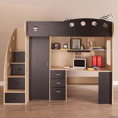 This one-of- a-kind loft twin bed has stairs to la-la land that double as drawers for holding everything from toys to clothes. A wardrobe stores more clothing and the desk and hutch offer plenty of storage space for books, school supplies and more!