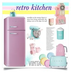 pastel kitchen by tauriel25 on Polyvore featuring interior, interiors, interior design, home, home decor, interior decorating, KitchenAid, Dot & Bo, Smeg and Kate Spade
