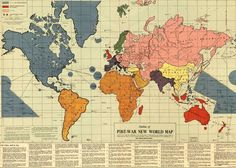"Infamous map of the ""Post-War New World Moral Order"" constructed shortly before Pearl Harbour by Maurice Gomberg."