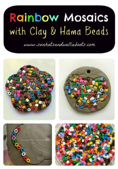 Rainbow Mosaic Art. Use air-dry clay, cut out shape with cookie cutters.  Beads are from Ikea.