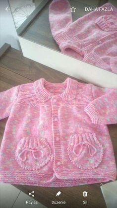 Çok güzel çok Baby Cardigan Knitting Pattern, Knitted Baby Cardigan, Knit Baby Sweaters, Baby Knitting Patterns, Baby Patterns, Free Knitting, Crochet Baby, Knit Crochet, Crochet For Kids