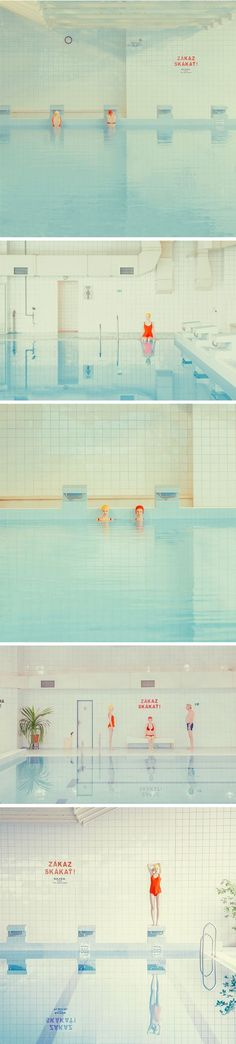 "Oh. Yes. I love this series, titled ""Swimming Pool"" so, so, so much. The simplicity, the color palette, the little bits of perfectly placed text. Sigh. This is the clean and striking work of Slovakian"