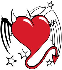 devil and angel heart by aktn on DeviantArt Demon Heart, Angel Heart, Angel Devil Tattoo, Angel And Devil, Art Drawings Sketches Simple, Easy Drawings, Transférer Des Photos, Heart With Wings Tattoo, Small Star Tattoos