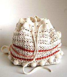 Crochet summer bag Crochet shoulderbag with beads Crochet Crochet Summer, Summer Bags, Bead Crochet, Drawstring Backpack, Bucket Bag, Shoulder Bag, Etsy, Beads, Fashion