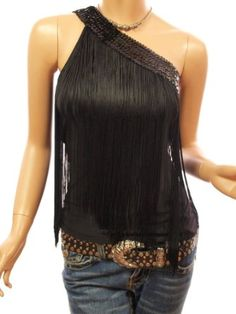 Amazon.com: Patty Women Sequins One Shoulder Fringe Tops: Clothing