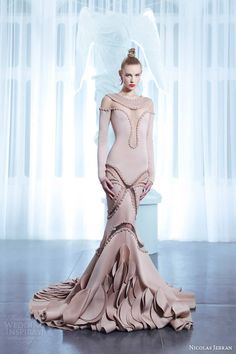 nicolas jebran haute couture spring 2015 long sleeve powder gown illusion neckline