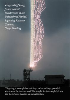 "Real(Mislabeled) - Pinned as ""Awesome photo of a Lightning Rod in action"". - This is a lightning strike on a wire attached to the tower and trailing a rocket. Launched into a storm for testing. All Nature, Science And Nature, Amazing Nature, Lightning Rod, Lightning Strikes, Fuerza Natural, Cool Pictures, Cool Photos, Random Pictures"