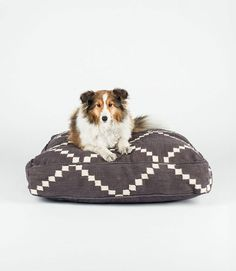 Gray and White Geometric Square Dog Bed by FILLYDOG by fillydogco