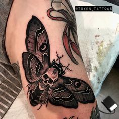 Fun death skull moth gap filler done at @korpus. Thanks Mike. Bookings email pt_tran92@hotmail.com #korpus #tattoo #brunswick #melbourne… Hand Tattoos, Skull Tattoos, Black Tattoos, Body Art Tattoos, Sleeve Tattoos, Tattoo Life, Gotik Tattoo, Gap Filler Tattoo, Hamsa Tattoo