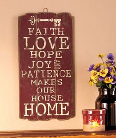 """The distressed finish on this Wooden Panel Wall Hanging gives it the look of a treasured antique. Pick the statement that best suits your home, or order all 3 to create a theme. 9-3/8"""" x 18-1/2"""". Ready to hang."""