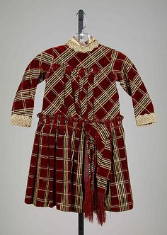 Girl's Plaid Silk Dress, circa 1885   I SWEAR I had a dress almost exactly like this in the 1980s.... #Victorian #1880s