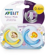 Avent BPA Free 0-6 Months 2 Pack Classic Orthodontic Pacifier - Monkey/Lion (Colors/Styles May Vary)