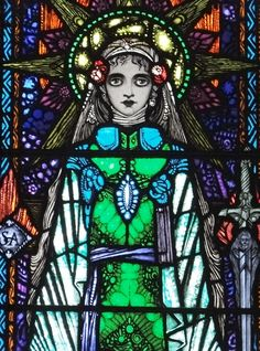 Detail of St Agnes stained glass window