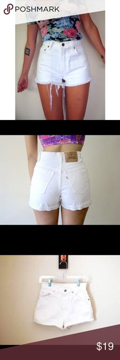 High waisted Levi shorts Not distressed but can be if you cut them. High waisted never worn. Missing the brown tag on the back since it got pulled off. Levi's Shorts Jean Shorts
