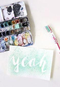 {DIY} Lettering-Sprenkelbild mit Wasserfarbe