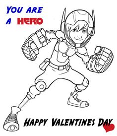 Big Hero 6 Coloring Sheet And Have Fun Hiro Valentines Day Card