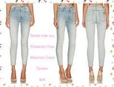 """Seven For All Mankind High Waist Crop Skinny: •Wash - Slim Illusion Bright Ice Blue  •88% cotton , 8% poly , 4% spandex •14"""" at the knee narrows to 9"""" at the leg opening •Light fading detail Available size 24-30 #Sevenforallmankind #highwaistcropskinny"""