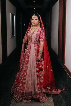 Red Floral Wedding Lehenga With Double Dupatta Red Floral Wedding Lehenga With Double Dupatta wedding outfits Indian Bridal Outfits, Indian Bridal Fashion, Indian Bridal Wear, Indian Designer Outfits, Indian Dresses, Bridal Dresses, Bridal Gown, Pink Bridal Lehenga, Indian Wedding Lehenga