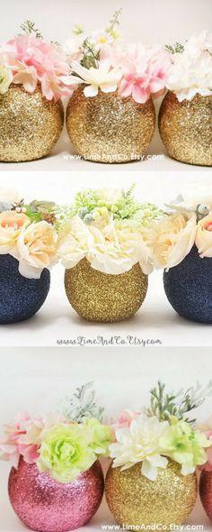Wedding Centerpiece, Bridal Shower Decorations, Baby Shower Centerpiece, Gold Wedding Decor, Wedding Shower Decorations, Glitter, Set of 3 #ad