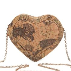 Vintage World Map Printed Heart Shaped Mini Bag Size: 16cm x4.5cm x18cm Material: PU Leather