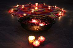 Light up the home with Rangoli and Diya, Diwali Diwali Lights, Light Up, Tea Lights, Candles, House, Home, Tea Light Candles, Candy, Candle Sticks