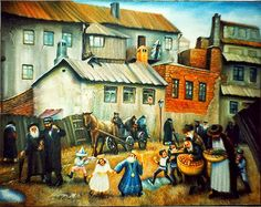 The Art of Eretz Israel.  World, Gone with the Holocaust.  Old Warshaw.  Purim in Jewish Quarter.  90х70cm. oil on canvas.