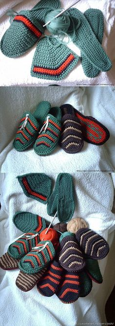 New Knitting Socks Pattern Mens 34 Ideas Crochet Slipper Boots, Crochet Slipper Pattern, Crochet Sandals, Knitted Slippers, Mode Crochet, Knit Crochet, Crochet Fabric, Crochet Hair, Crochet Crafts