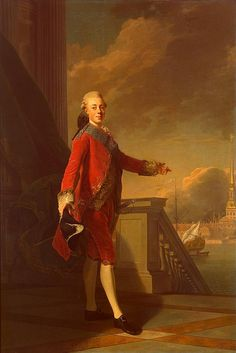 Portrait of Emperor Paul I Petrovich Romanov (1 Oct 1754-23 Mar 1801) Russia by Alexander Roslin in 1777.
