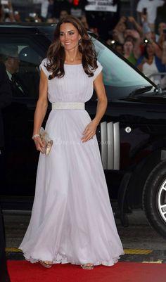 Princess Long Pleats White Celebrity Dress 2013