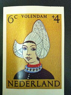 Postcrossing NL-685968 - Drawing of a girl in Dutch costume on postage stamp. Sent by Postcrosser in the Netherlands.
