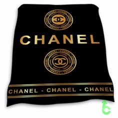 Chanel Gold Coin Logo Dark Surface Blanket cheap and best quality. *100% money back guarantee