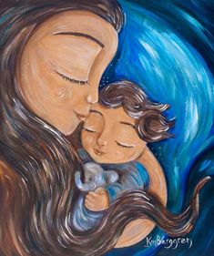 mother and child, brown hair, long hair, short hair, elephant, blue, bed, pillow, sheet, sweet, peace, warm, kiss, eyes closed, nap, intimate, emotion, affection, cuddle, hug, attachment, motherhood, infant, toddler, smile, hand,