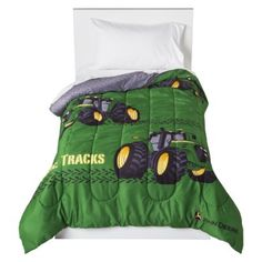 John Deere Tire Tracks Green Twin Comforter Bedding X Licensed for sale online John Deere Bedroom, Tractor Bedroom, Farm Bedroom, Kids Bedroom, John Deere Party, Twin Comforter, Bedding, Bedroom Themes, Bedroom Ideas