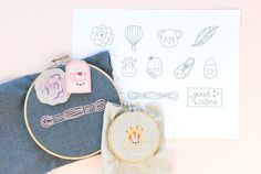 """With motifs ranging from nature to kawaii (Japanese for """"cute"""") to fun phrases, these free mini embroidery patterns are sure to be a delight to stitch on pins, patches and more."""
