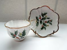 Christmas Holly Tea Cup Saucer England Salisbury Fine China Wedding Anniversary Birthday Collector Gift by ColorfullGifts on Etsy