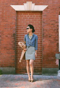 Trenchcoat, knotted denim shirt, striped jersey dress, statement necklace, leopard pumps