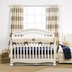 Canvas Stripe Curtains | Boys Nursery Design | Liz and Roo | Liz and Roo Fine Baby Bedding