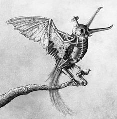 The Song Of Aryane - fragment Arte Horror, Horror Art, Cool Drawings, Tattoo Drawings, Unique Drawings, Pencil Drawings, Steampunk Animals, Arte Steampunk, Design Tattoo