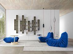 Photos de canapés bleu design dans salon design → touslescanapes.com