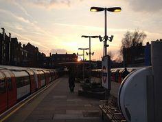 Sunset at West Hampstead London Underground, Cn Tower, Tube, Explore, Sunset, Building, Travel, Viajes, Buildings