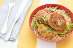 Parmesan-Basil Chicken Patties with Braised Romano Beans & Barley