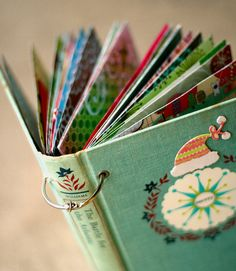 December Daily 2009 - by Megan Nerdnest -featured on Two Peas In A Bucket - Like the idea of using an old book cover. Collect Christmas cards or fill it with Christmas photos of family, or do a daily mini scrap. Altered Books, Mini Albums, Minis, December Daily, Handmade Books, Handmade Journals, Handmade Diary, Old Books, Arts And Crafts