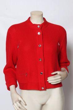 Rondina Etcetera Per Se Red Knit Zip Moto Cardigan Jacket Xs S M L Xl * Nwt $275