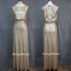 Gold Sequined Prom Dress, Sleeveless Long Formal Dress,Bridesmaid Sequin Dress,Round Neck Evening Dres,Sequin Wedding Party Dress Back Slit