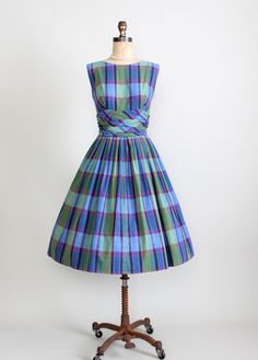 1950s cotton plaid sundress mad men