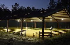 covered with lighting - could easily be made into an indoor arena later or at least somewhat more sheltered