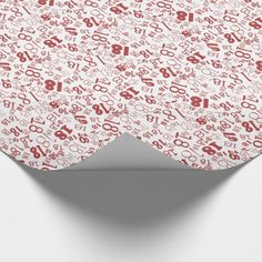 Red White Numbers 18th Birthday Wrapping Paper