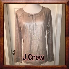 J. Crew Top This is so cute! Long sleeve J.Crew top in tan/metallic color. 100% linen size M in great condition J. Crew Tops Tees - Long Sleeve